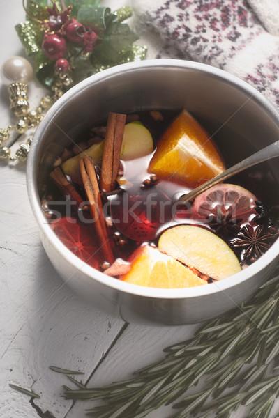 Foto d'archivio: Vino · diverso · spezie · frutti · pot · top