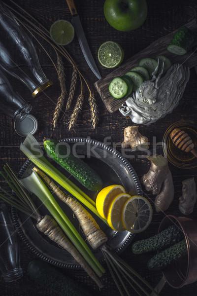 Ingredienti tavolo in legno verticale frutta salute Foto d'archivio © Karpenkovdenis