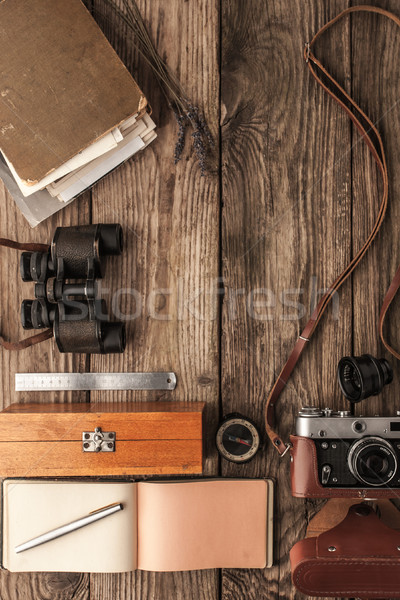 Traveler  things on the wooden background top view Stock photo © Karpenkovdenis