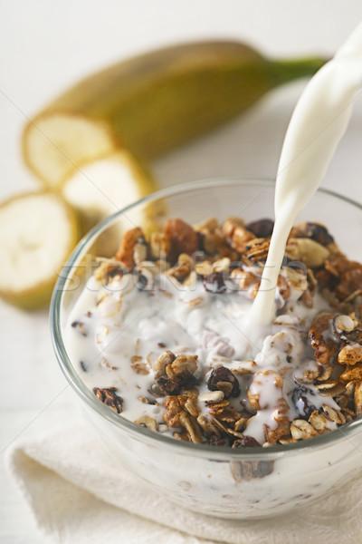 Yoğurt granola dikey meyve süt kahvaltı Stok fotoğraf © Karpenkovdenis