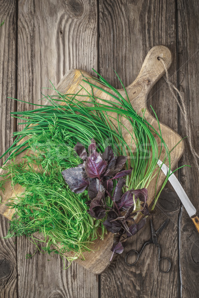 Fresh basil, dill, onions and knife on a cutting board Stock photo © Karpenkovdenis