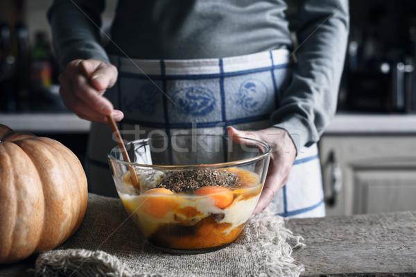 Ingredients for dough do pumpkin dump cake in the glass bowl Stock photo © Karpenkovdenis