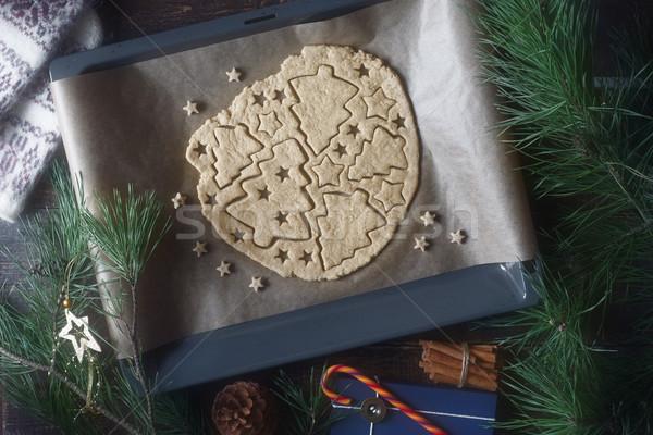 Рождества Cookie подготовка деревянный стол различный продовольствие Сток-фото © Karpenkovdenis
