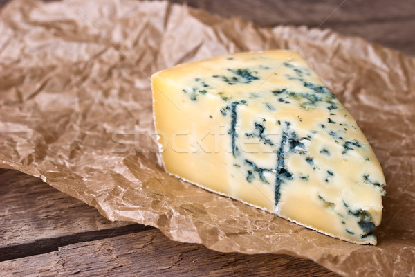 Cheese with a blue mold on the paper Stock photo © Karpenkovdenis