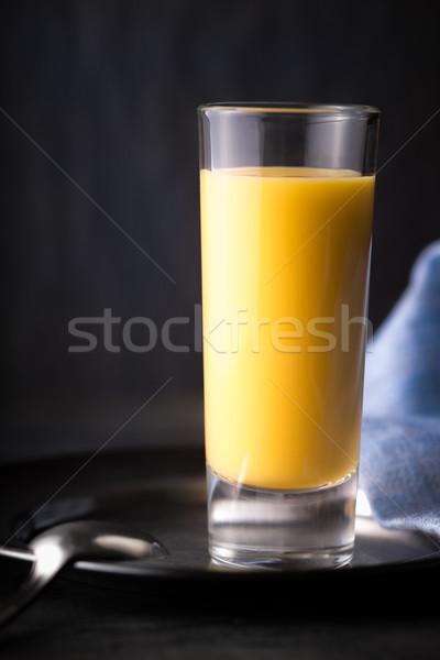 Tojás likőr sötét kék ital tányér Stock fotó © Karpenkovdenis