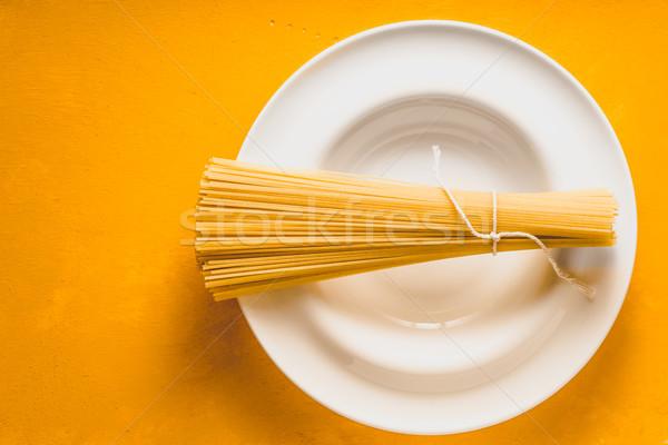 生 スパゲティ 白 プレート 黄色 先頭 ストックフォト © Karpenkovdenis