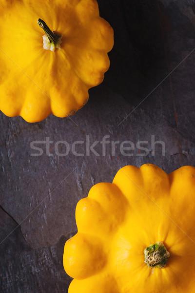 Sarı taze kabak tava karanlık taş Stok fotoğraf © Karpenkovdenis