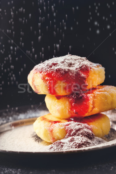 Sanding sugar powder cheese-curds cake with jam Stock photo © Karpenkovdenis
