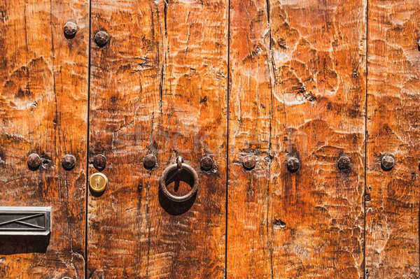 Fragment of relief  wooden door Stock photo © Karpenkovdenis