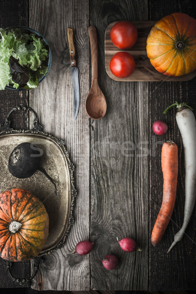 Zöldség keverék klasszikus tálca konyhai felszerelés függőleges Stock fotó © Karpenkovdenis
