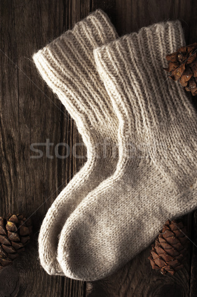 Knitted wool socks with cone vertical Stock photo © Karpenkovdenis
