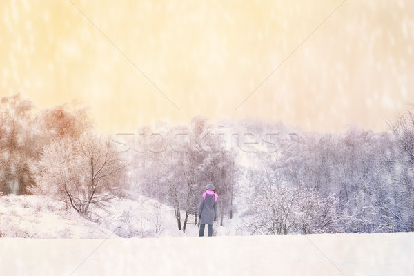 Woman in the snowy winter forest Stock photo © Karpenkovdenis