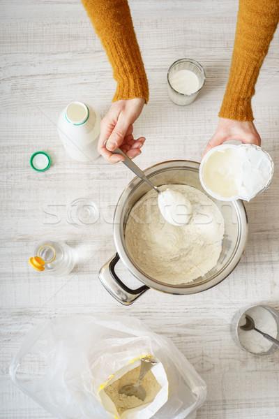 材料 料理 ピザ 表 垂直 女性 ストックフォト © Karpenkovdenis