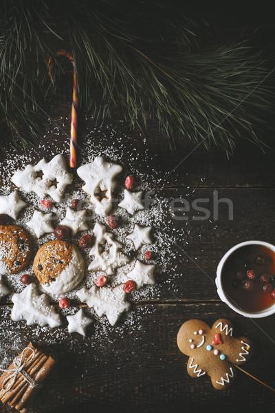 Рождества мяча Cookies чай Колобок Сток-фото © Karpenkovdenis