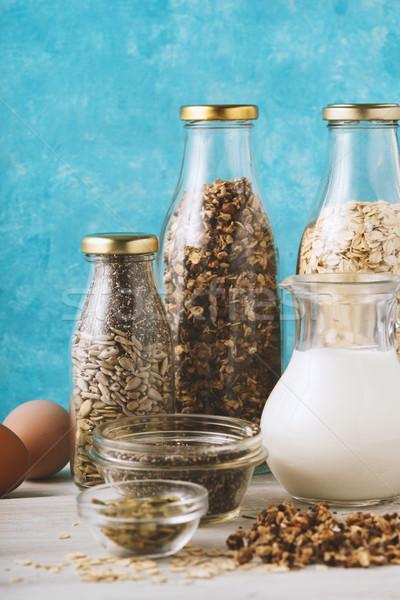 Variëteit gezonde voeding witte houten tafel achtergrond frame Stockfoto © Karpenkovdenis