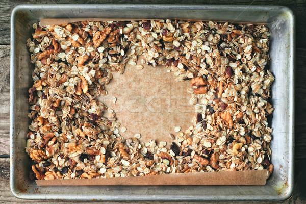 Keret granola sütés tálca fém reggeli Stock fotó © Karpenkovdenis