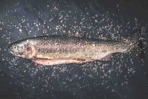 Raw trout  with salt on the dark stone background top view Stock photo © Karpenkovdenis