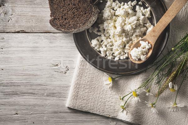 свежие творог хлеб цветы белый деревянный стол Сток-фото © Karpenkovdenis