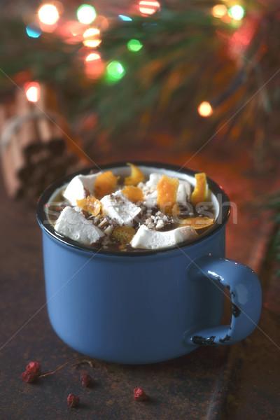 Warme chocolademelk oranje bruin verticaal voedsel licht Stockfoto © Karpenkovdenis