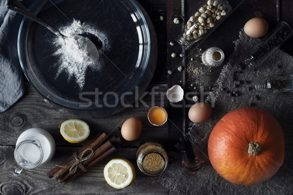 Ingredients for pumpkin pie on the wooden table horizontal Stock photo © Karpenkovdenis