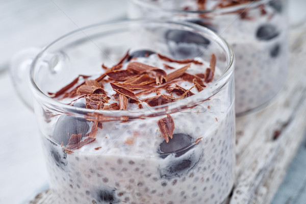 Chia pudding with grapes and chocolate flakes on the glass cup horizontal Stock photo © Karpenkovdenis
