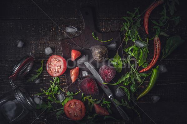 Stockfoto: Ingrediënten · plantaardige · smoothie · oude · houten · tafel · horizontaal