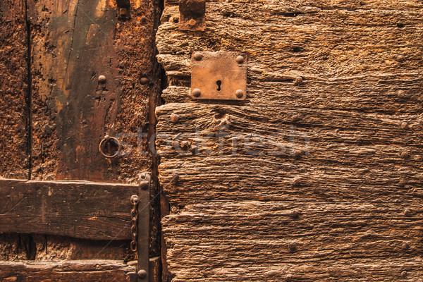 Fragment oude houten deur metaal keten Stockfoto © Karpenkovdenis