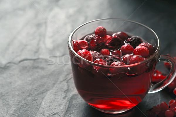 Cup of tea with berries on the dark stone table horizontal Stock photo © Karpenkovdenis