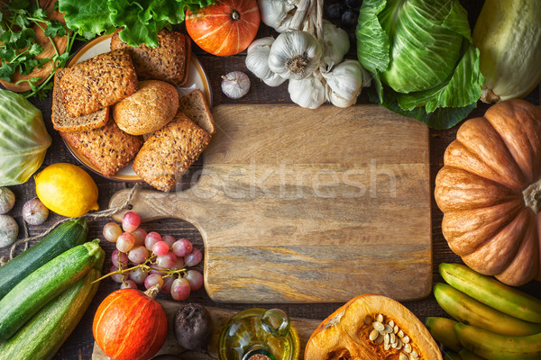 Different vegetable and grain bread on the wooden table  top view Stock photo © Karpenkovdenis
