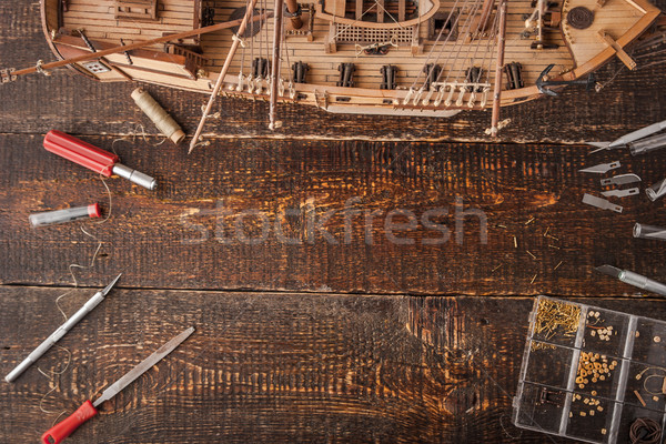 Model ships from the tree on a brown table  Stock photo © Karpenkovdenis