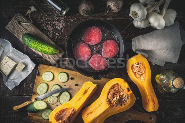 フライド パン 異なる 野菜 木製のテーブル ストックフォト © Karpenkovdenis