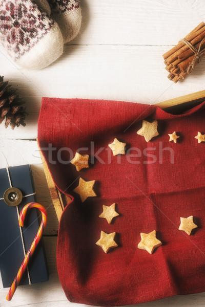 Karácsony sütik piros szalvéta tálca különböző Stock fotó © Karpenkovdenis