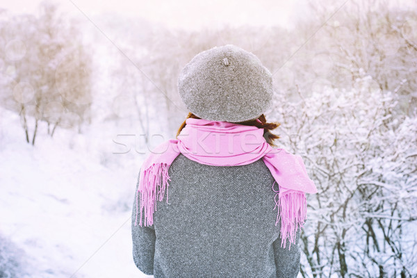 Woman in the snowy winter forest horizontal Stock photo © Karpenkovdenis