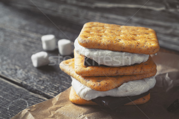 Smores on the wooden table horizontal Stock photo © Karpenkovdenis