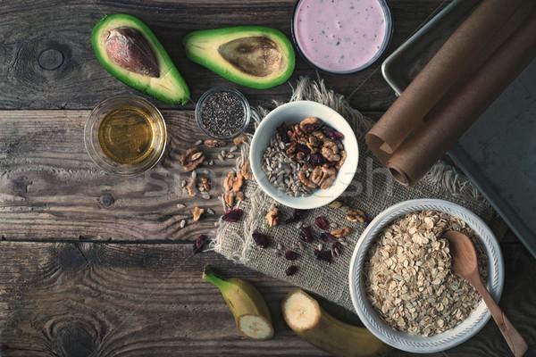 Ingredients for granola on the wooden table Stock photo © Karpenkovdenis