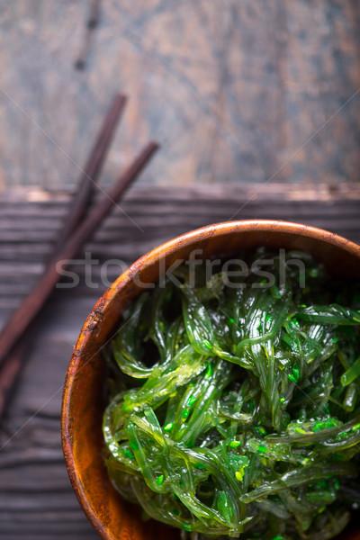 ストックフォト: サラダ · 木製 · ボウル · 背景 · 緑 · 日本語