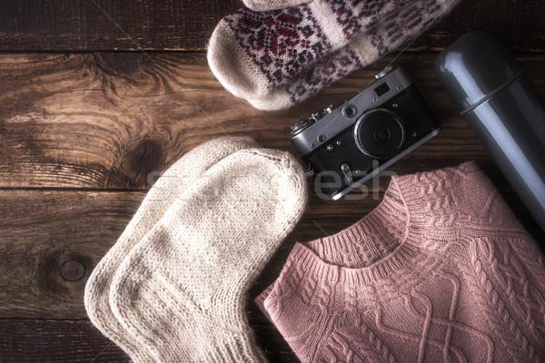 Winter traveler set on the wooden background top view Stock photo © Karpenkovdenis