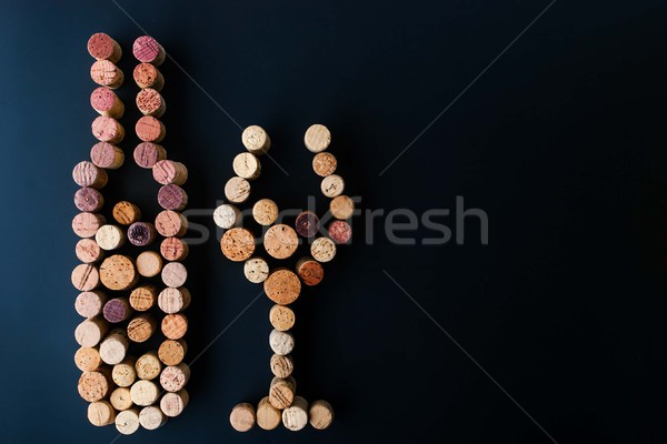 Wine bottle and glass made by corks horizontal Stock photo © Karpenkovdenis