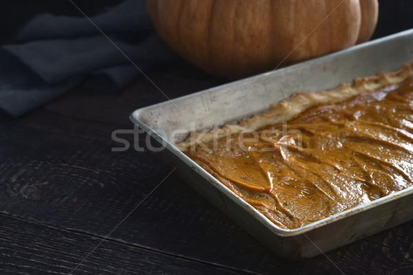Pumpkin pie on the  wooden table horizontal Stock photo © Karpenkovdenis