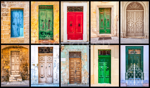 Collage of  colorful antique maltese doors Stock photo © Karpenkovdenis