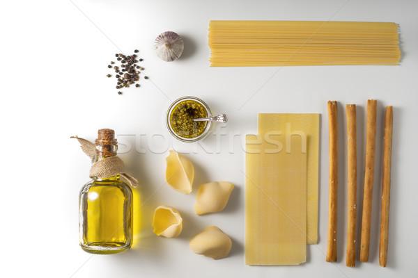 Cucina italiana bianco alimentare vetro sfondo Foto d'archivio © Karpenkovdenis