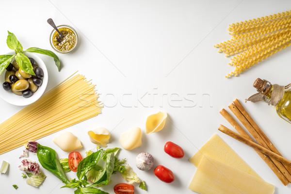 Ayarlamak İtalyan gıda beyaz cam arka plan Metal Stok fotoğraf © Karpenkovdenis