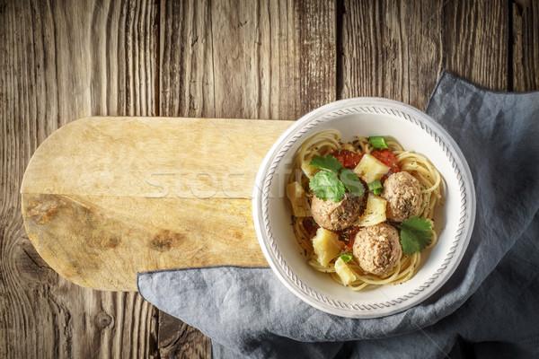 スパゲティ ミートボール ボード 水平な 食品 背景 ストックフォト © Karpenkovdenis