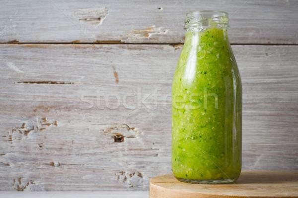 Zöld smoothie üveg üveg fehér fából készült gyümölcs Stock fotó © Karpenkovdenis