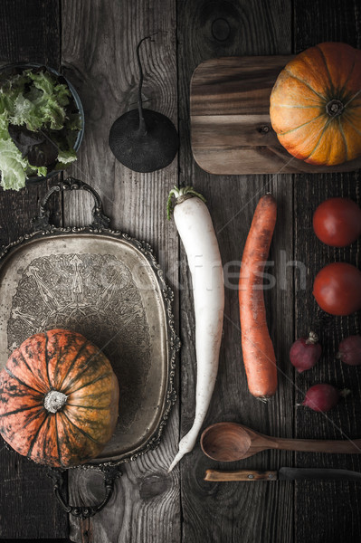 Vegetable mix with vintage tray and kitchenware with film filter Stock photo © Karpenkovdenis