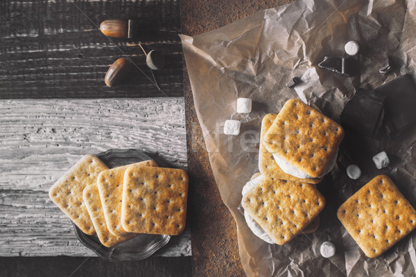 Stock photo: Smores with ingredients on the different background top view
