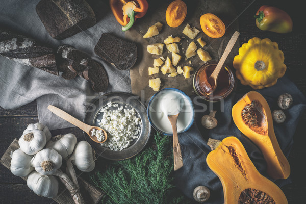 различный овощей деревянный стол Top мнение Сток-фото © Karpenkovdenis