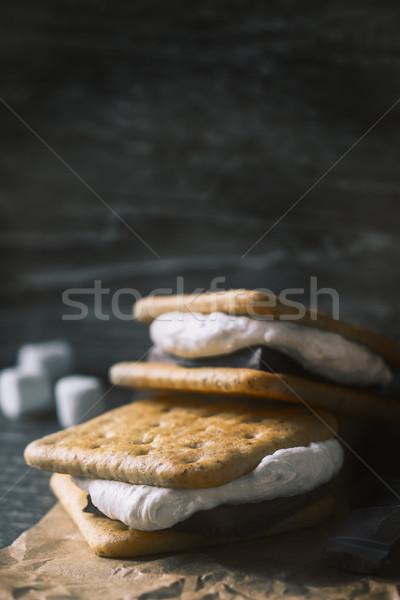 Stockfoto: Houten · tafel · verticaal · voedsel · achtergrond · sandwich · hot