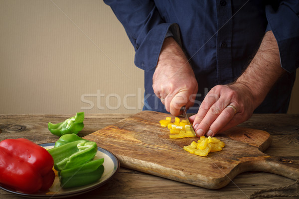 Sliced pepper pizza on a cutting board Stock photo © Karpenkovdenis