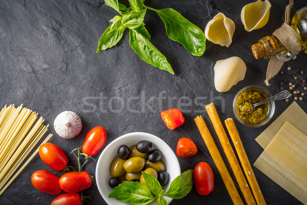 Italian food still life on the dark table top view Stock photo © Karpenkovdenis